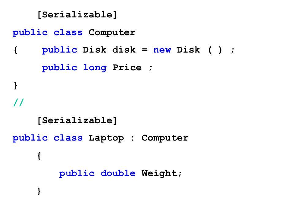 [Serializable]public class Computer. { public Disk disk = new Disk ( ) ; public long Price ; } // public class Laptop : Computer.
